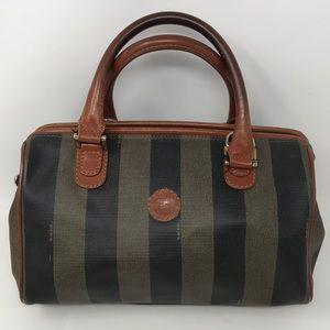 FENDI Classic vintage striped leather/PVC satchel
